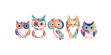 Cute Owls Family. Colorful Sty...