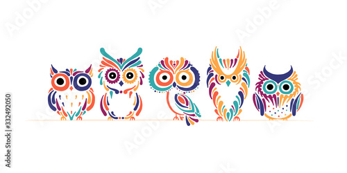Fototapeta Cute owls family. Colorful style for your design obraz