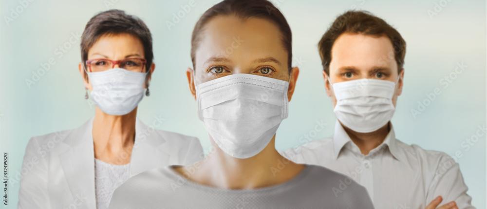 Fototapeta Corona virus. Team of doctors in mask . Protection against virus, infection, exhaust