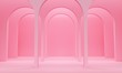 Pink abstract background with a row of arches and upper light. 3d rendering