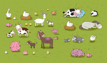 Farm Animals. Cute Cartoon Horse, Cow And Goat, Sheep And Goose, Chicken And Pig. Sleeping Animals