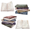 Leinwanddruck Bild - Watercolor vintage books set. Hand painted stack of books isolated on white background. Illustration for design, print, fabric or background.