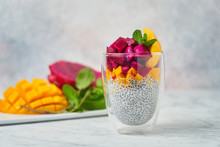 Chia Pudding Decorated With Sl...