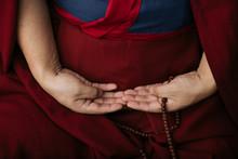 Side View Of Crop Buddhist Mon...