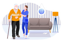Home Care Services For Seniors. Nurse Or Volunteer Worker Taking Care Of Elderly Man. Vector Characters Illustration