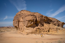 Picturesque Scenery Of Tombs Carved Into Sandstone Cliffs As Architecture And Archeological Site In Saudi Arabia