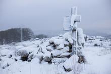 Wooden Snowbound Cross Near Ro...