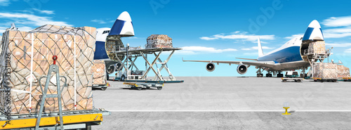 loading cargo airplane on airport runway ultra wide panorama landscape with frei Wallpaper Mural
