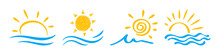 Sun And Sea, Ocean Icon Set Il...