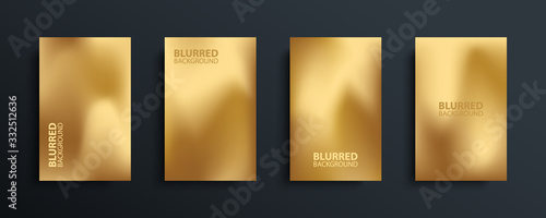 Fotografija Gold blurred backgrounds set with modern abstract blurred golden colored gradient patterns
