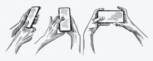 Hand-drawn Sketch Of Smartphone Gestures Set. The Set Includes Hands Taking A Selfie Or Simply Making A Picture, Hands Unlocking The Phone, Hands Zooming The Image In The Phone.