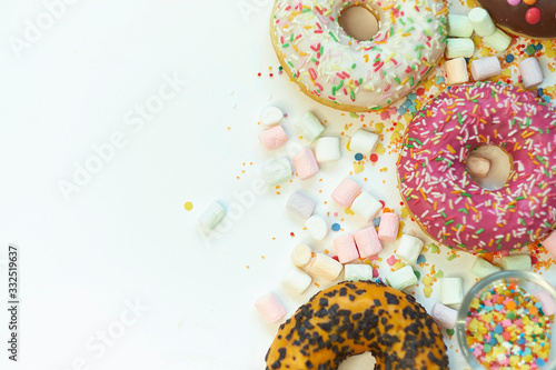Fototapeta A lot of colorful candy. Tasty appetizing Party Accessories Happy Birthday Sweet Treat Swirl Candy Lollypop on Bright Background Flat Lay isolated on white background obraz