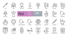 Set Of Vector Flu Icons With E...