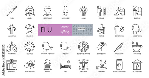 Set of vector flu icons with editable stroke Canvas Print