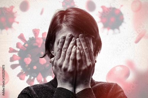 Photo Concept of fear of coronavirus