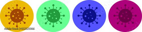 Photo corona virus icons in a range of colours