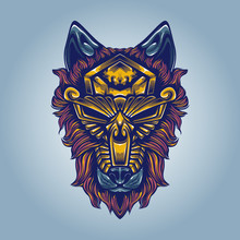 Wolf Artwork With Gold Mask