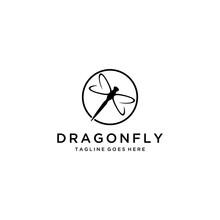 Modern Minimalist Dragonfly Logo Design With Line Art Style