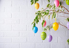 Traditional Easter Tree With Eggs