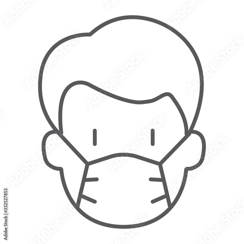 Obraz Man with medical mask thin line icon, virus and flu, covid 19 sign, vector graphics, a linear pattern on a white background, eps 10. - fototapety do salonu
