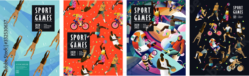 Sport games! Vector illustrations of athletes, swimmers, hockey player, jumper, runner, volleyball, basketball player, soccer player, cyclist, tennis player for poster, banner or cover design Fotobehang