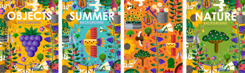 Summer time! Set posters of bright backgrounds and objects with summer flowers, juicy fruits, abstract birds, butterfly, gardening and nature. Vector illustration for banner, card, poster or postcard - 332531856