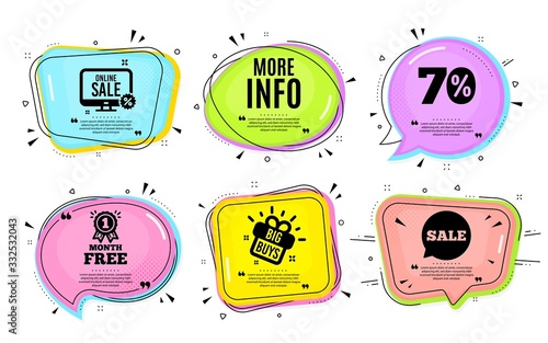 Fototapeta More info symbol. Big buys, online shopping. Navigation sign. Read description. Quotation bubble. Banner badge, texting quote boxes. More info text. Coupon offer. Vector obraz