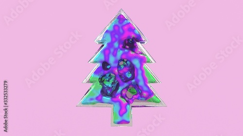 Fotografie, Obraz 3d illustration of a glass shape christmas tree with weightless substance or liquid metal inside