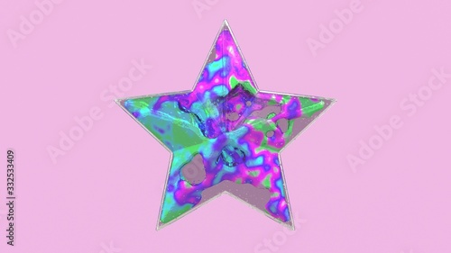 Fototapeta 3d illustration of a glass shaped christmas star with weightless substance or cream inside