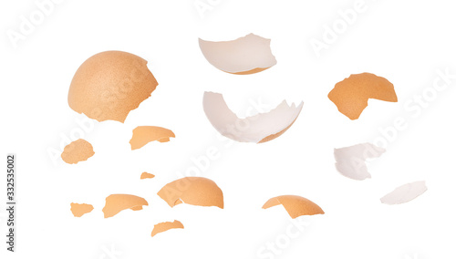 Egg shell isolated on white background. Close-up. Canvas Print
