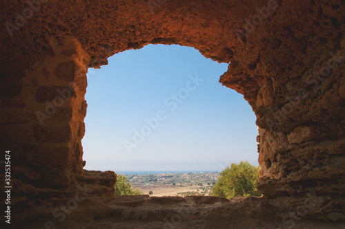 Natural frame view to Agrigento Fototapet