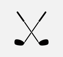 Stick Golf Icon Vector Logo Te...