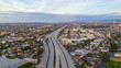 canvas print picture - Aerial view of empty freeway streets with no people in downtown Los Angeles California USA due to coronavirus pandemic or COVID-19 virus outbreak and quarantine
