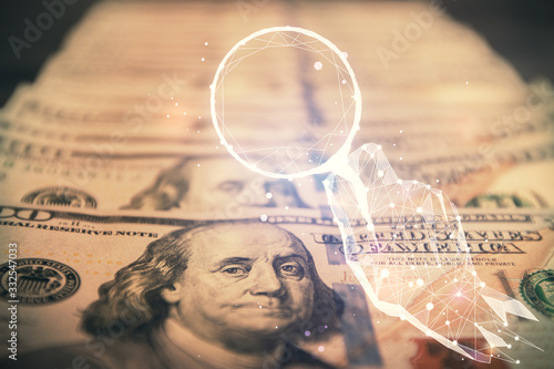 Fototapeta Double exposure of startup drawing over usa dollars bill background. Young business concept. obraz