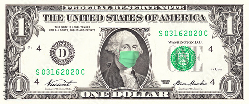 Fotomural US Dollar bill George Washington wearing surgical Mask COVID-19, Coronavirus, Pandemic, Health and Economic Crisis