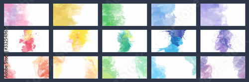 Fotomural Big set of beauty vector colorful watercolor backgrounds for business card, broc