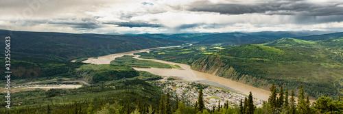 фотография Panorama view Dawson City in northern Canada, Yukon Territory