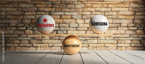 wooden scale balancing spheres with German words for CORONAVIRUS, CANCELLATION and LABOR LAW in front of a brick wall