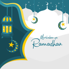 Islamic Background Ramadhan Theme Vector Illustration With Silhouette Of Mosque And Lantern In Flat Design