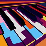 colorful pop art piano vector wpap, illustration