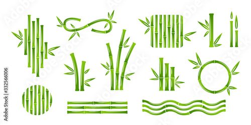 Tablou Canvas Bamboo decoration collection. Vector isolated design elements.