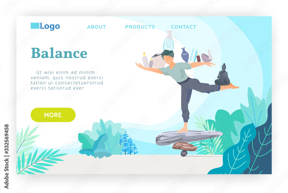Fototapeta Man stays on a stack stones and balancing. Yoga, meditation and buddhism concept. Vector web site design template. Landing page website concept illustration.