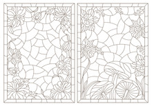 A Set Of Contour Illustrations Of Stained Glass Windows With Flower Compositions In Frames, Dark Outlines On A White Background