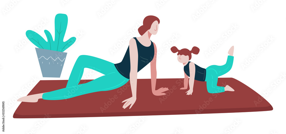 Fototapeta Yoga and healthy lifestyle, family exercising on mat, mother and daughter