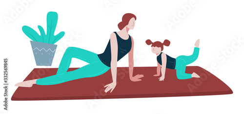 Obraz Yoga and healthy lifestyle, family exercising on mat, mother and daughter - fototapety do salonu