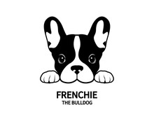 Adorable French Bulldog Waiting For His Snacks. Cute Frenchie With Bunny Ears In Black & White Logo.