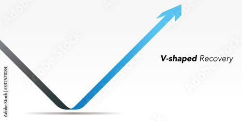 Cuadros en Lienzo V-shaped recovery arrow vector illustration