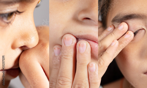 Fotografia, Obraz Collage of Young girl touches her nose, eyes and Mouth - Concept showing avoid t
