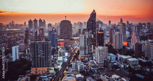 Bangkok Aerial view, above Sukhumvit and Thonglor district in Thailand