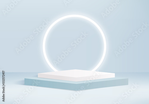 Background vector 3d blue rendering with podium and minimal blue wall scene, minimal abstract background 3d rendering abstract geometric shape blue pastel color Fototapeta